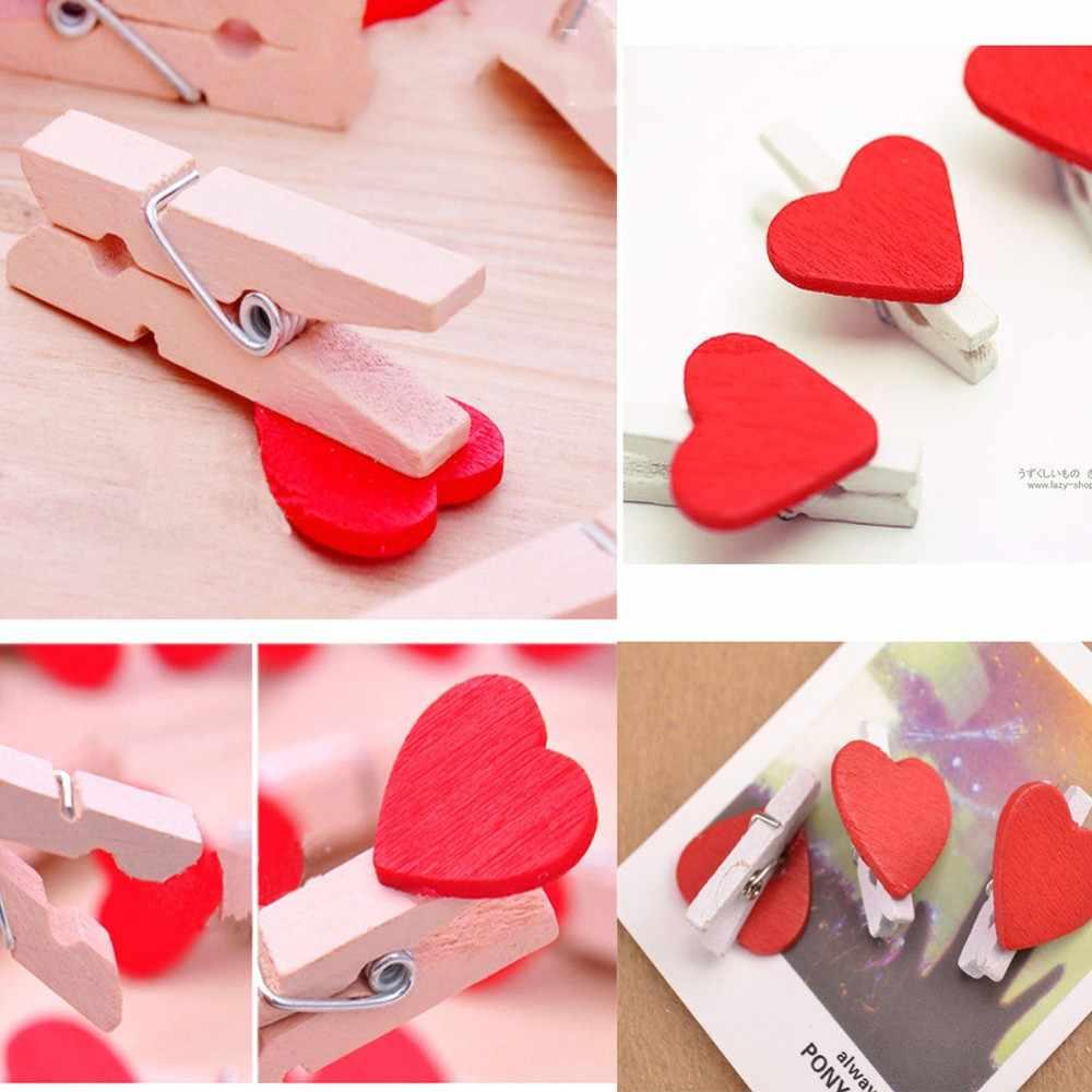 20 個かわいいかわいい愛の心木製ペーパークリップフォト用紙ペグピン洗濯ばさみクラフトはがきクリップ家の結婚式の装飾