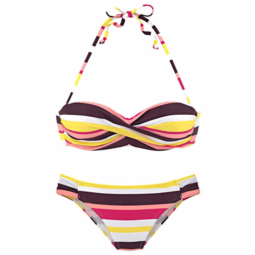 נשים בוהמי ביקיני קיץ פסים הלטר Push-Up חולצת סטרפלס ביקיני סט שני חלקים בגד ים ברזיל מכירה לוהטת # YL1
