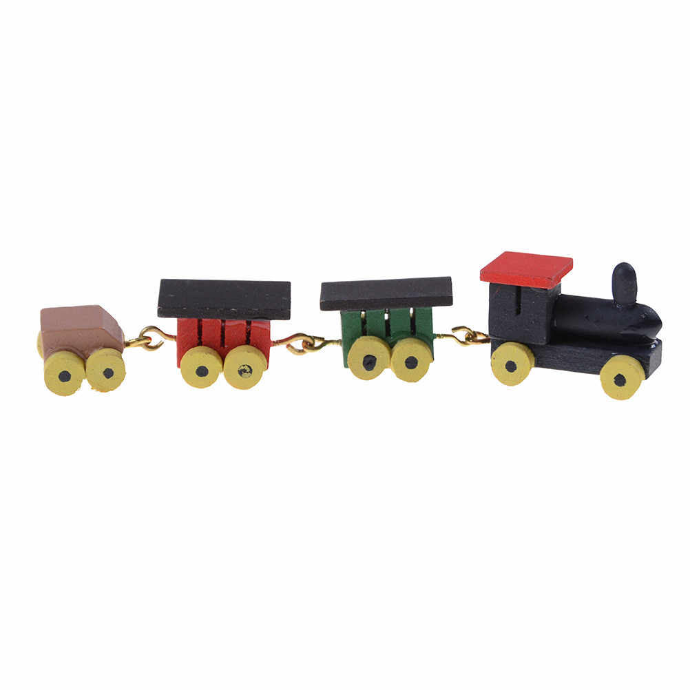 TOYZHIJIA Carino Dipinta di Giocattolo Di Legno Treno Set Casa di Bambola MiniatureCarriages Infanzia Educational Casa Arredamento Accessori