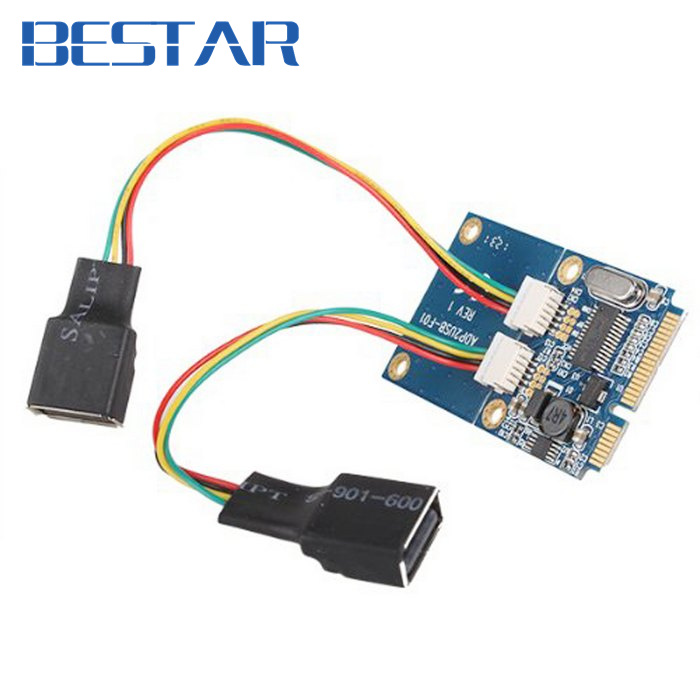 Dual USB 2.0 USB2.0 Female to Mini pcie pci-express PCI-E pci Express Adapter card For USB Flash Disk & Wifi Wireless Card 2pcs cf mini pci e mini pci e adapter mini pci express cf card to mini pci e express adapter as ssd for eeepc 901 900a