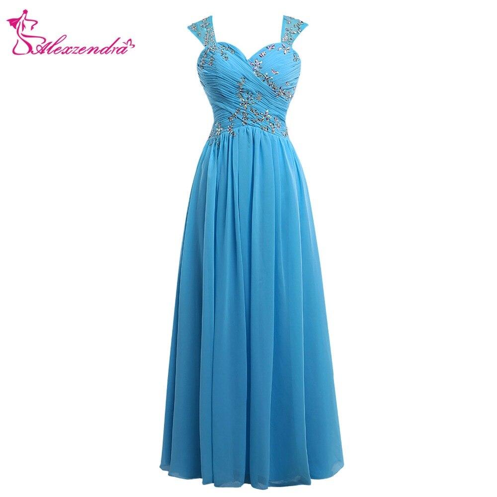 Alexzendra bleu mousseline de soie thé longueur robes de bal avec bretelles appliqué perlé robe de soirée robes de grande taille de soirée