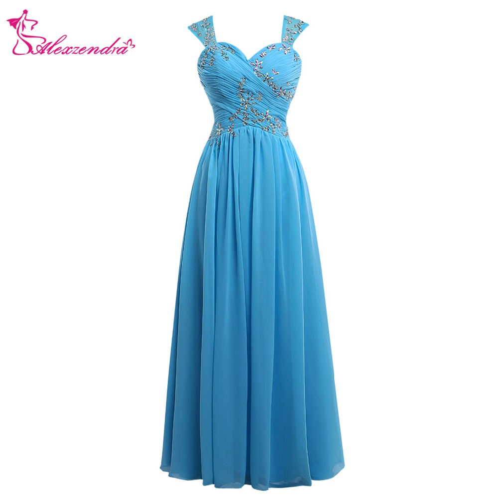 Alexzendra Blue Chiffon Tea Length   Prom     Dresses   with Straps Appliqued Beaded Evening   Dress   Party   Dresses   Plus Size