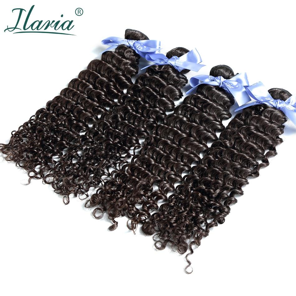 ILARIA HAIR Malaysian Curly Hair Deep Wave 4 Bundles Unprocessed Human Hair Weave Bundles Natural Color Soft&Comfortable
