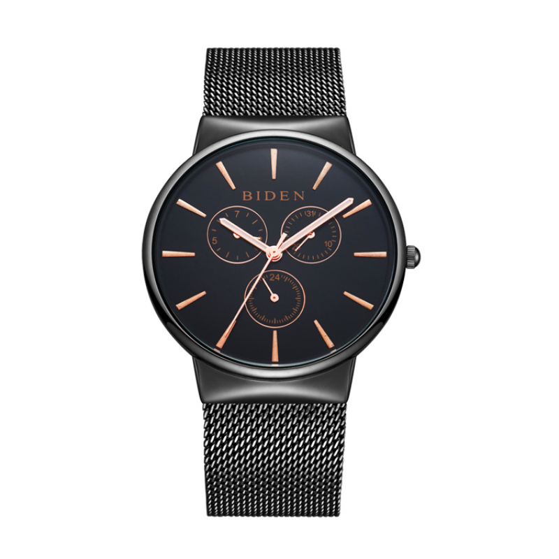 Top Luxury brand BIDEN Watches men Stainless Steel Mesh strap band Quartz-watch Fashion simple stylish thin Dial Clock man 2017 fashion simple stylish luxury brand crrju watches men stainless steel mesh strap thin dial clock man casual quartz watch black