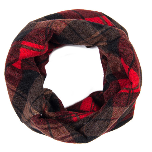 christmas red and black baby toddler kids buffalo plaid infinity scarf winter wrap circle scarves bandana