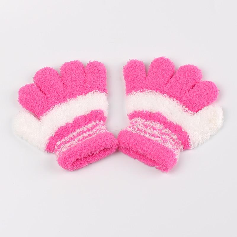 Winter Baby Mittens Gloves Children Cotton Striped Mittens Autumn Winter Kids Gloves Warm Boy Girl Coral Finger Gloves 2016 New
