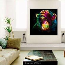 Настенная художественная ручная роспись маслом без рамки, красочная Картина на холсте с изображением года обезьяны, современная картина с животными для гостиной