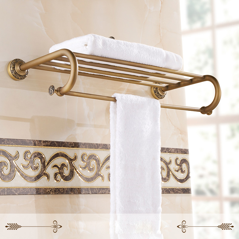Luxury Bathroom Wall Mounted Brass Bath Towel Shelf Antique Style Towel Rack with Towel Bar Bathroom Accessory aluminum wall mounted square antique brass bath towel rack active bathroom towel holder double towel shelf bathroom accessories