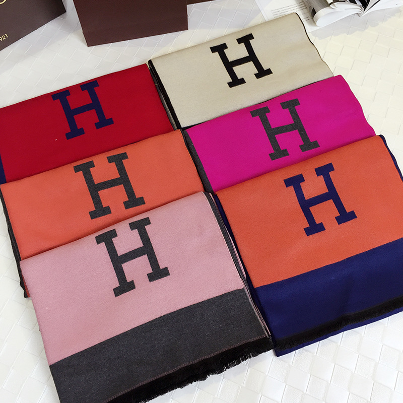2017 Hot Sale Autumn And Winter New Star With The Letter H Cashmere Scarf Color Blanket Shawls Large Size