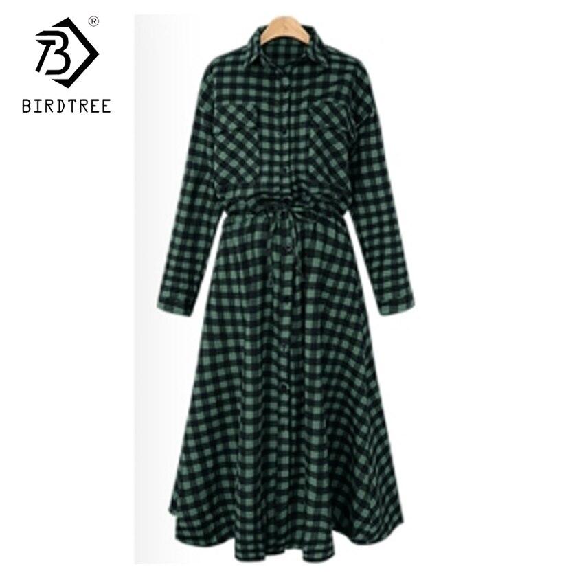 Plus Size 5XL 2017 Spring Fall Plaid Long Shirt Dress Lace Up Long Sleeve Dress Slim Casual Streetwear Women Shirt Dress D7N006A