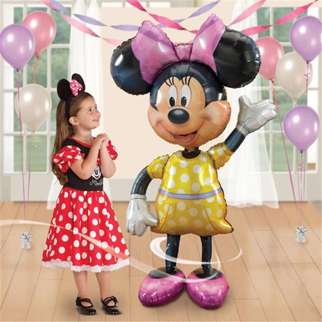 Mickey Minnie Bóng Bay Khổng Lồ Lớn 114 cm Lớn Màu Đỏ Bowknot Đứng Airwalker Helium Bóng Bay cho Trẻ Em Sinh Nhật Trang Trí Bên