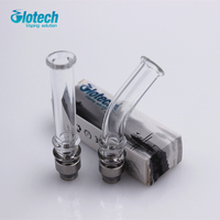5pcs Lot Glotech Long Glass Stainless Steel 510 Thread Drip Tip Mouthpiece For RDA RBA Atomizer