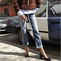 Women Vintage Mid-Waist Tassel Jeans BF Style Ankle-Length Pants