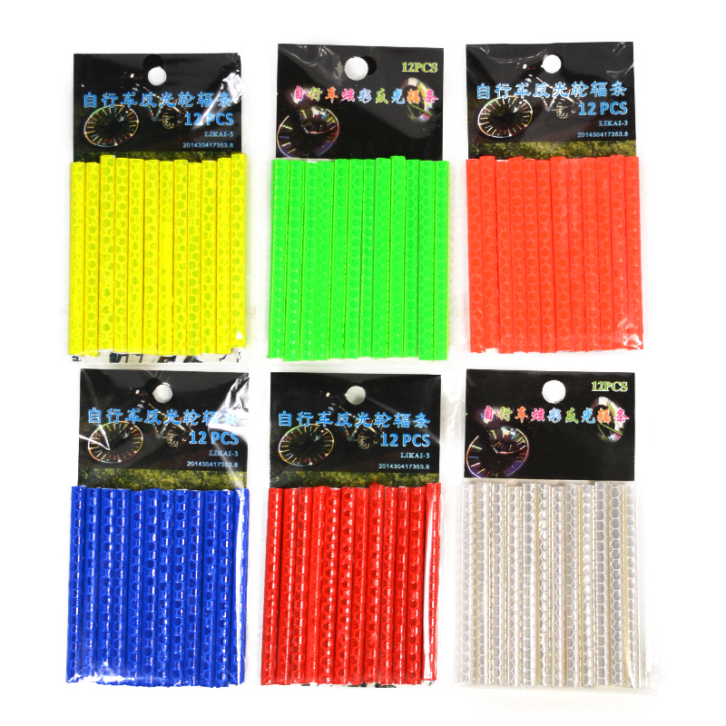 12Pcs Bicycle Light Wheel Rim Spoke Clip Tube Safety Warning Light Cycling Strip Reflective Reflector Bike Bicycle Accessories