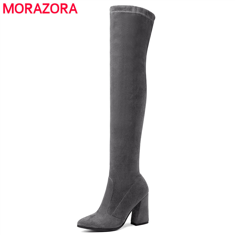 MORAZORA Ssize 34-43 New shoes woman Faux Suede women boots autumn winter high heels thigh high boots ladies knee boots morazora new china s style knee high boots flowers embroidery spring autumn boots for women zipper cow suede med heels boots