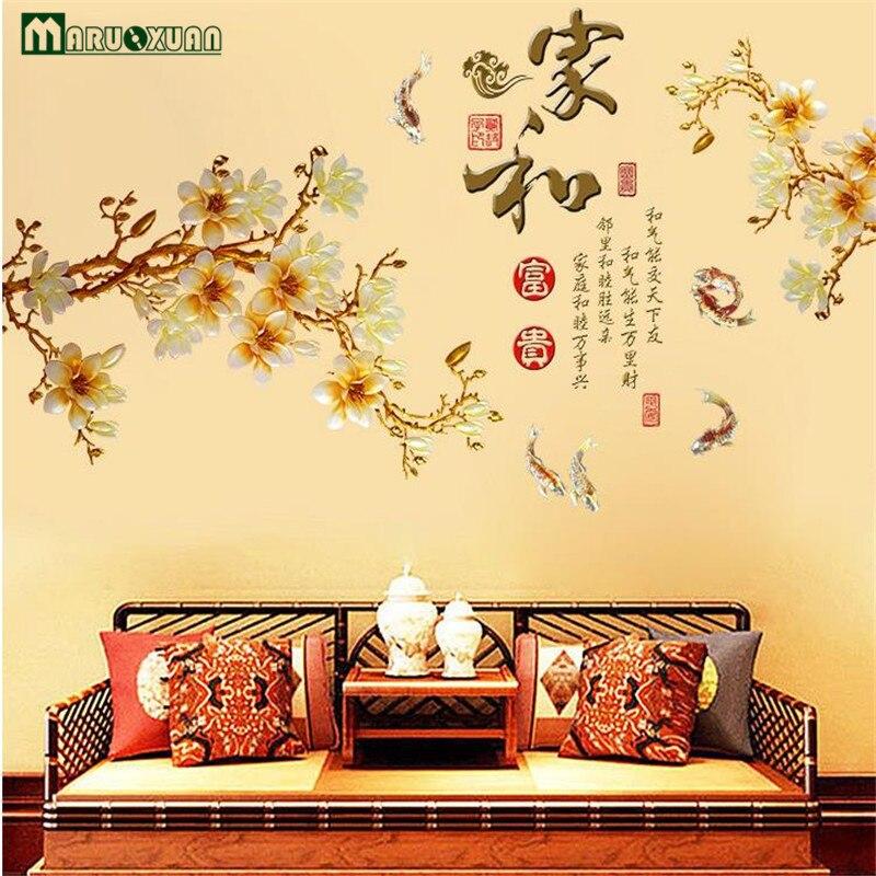 Chinese Stijl Gouden Bloem Thuis Muur Decoratieve Sticker Slaapkamer ...