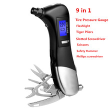 Digital Tire Pressure Measuring Car Pressure Gauge Flashlight Tiger Pliers Slotted Screwdriver Scissors Safety Hammer Motorcycle(China)