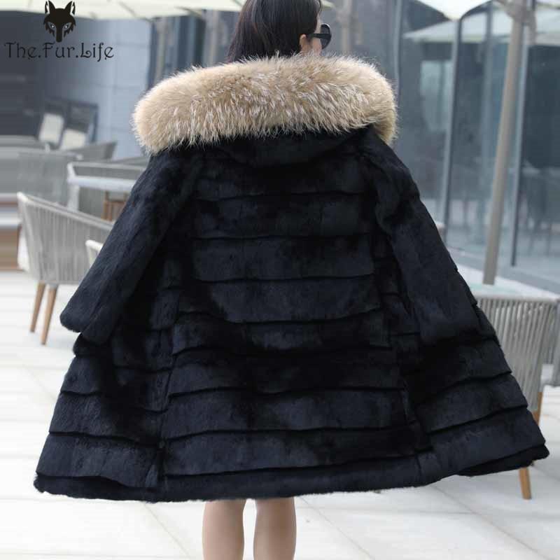 100 cm 100% manteau de fourrure de lapin réel avec grande fourrure de raton laveur garniture capuche cisaillement vestes de fourrure de lapin chaud épaissir longues vestes et manteaux