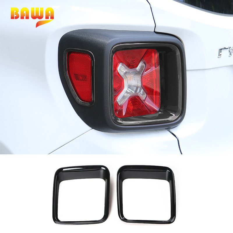 BAWA Tail Light Cover for Jeep Renegade 2016 2017 Black ABS Car Stickers Decoration Accessories