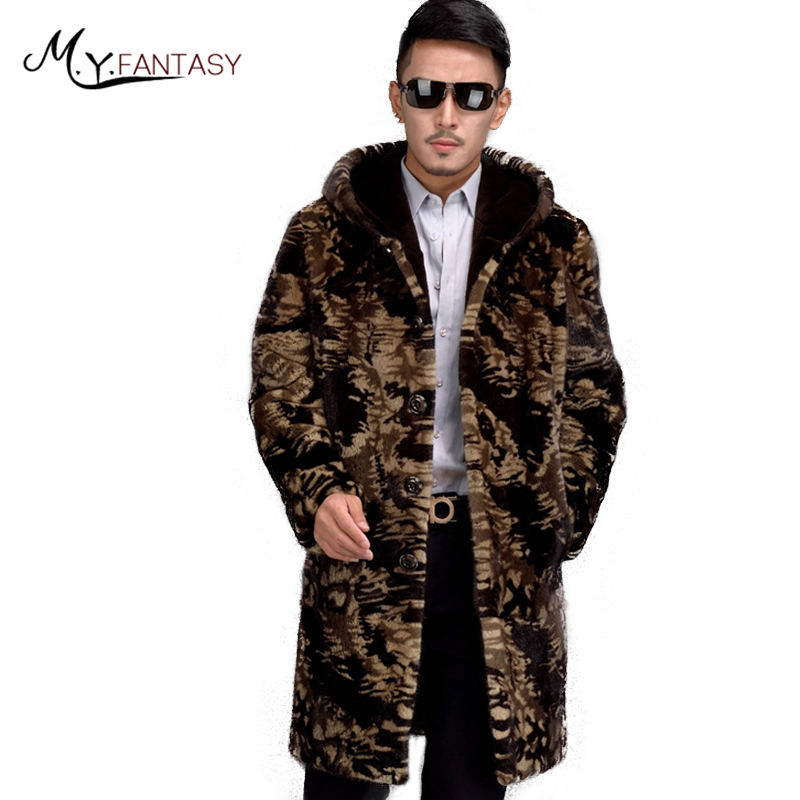Mink-Coat Single-Breasted-Jacket USA Real-Fur Cool Long with Hat Camouflage M.Y.FANSTY