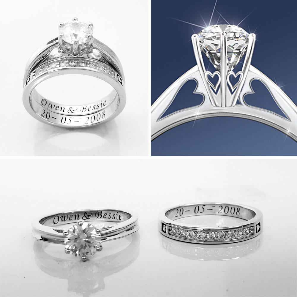 b871a556d8de Aliexpress.com  Comprar Aijaja plata esterlina 925 personalizada grabado  boda Anillos Sets grabado personalizado anillo nupcial Sets joyería de  plata de ...
