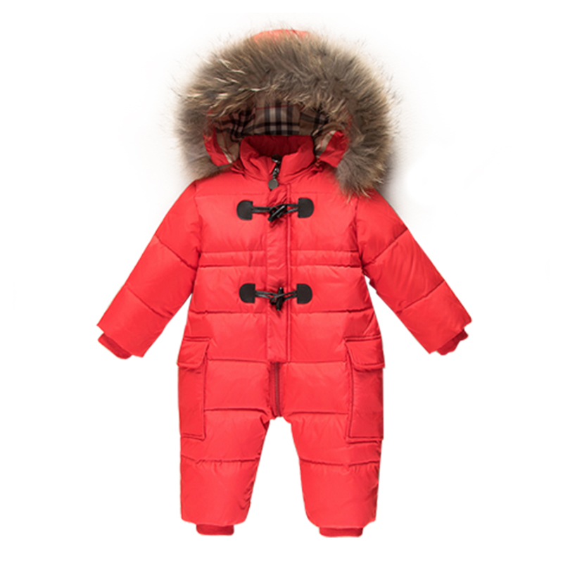 c4e857568 Baby Snowsuit New Winter Infant Boys One-Piece Outfits Raccoon Fur ...