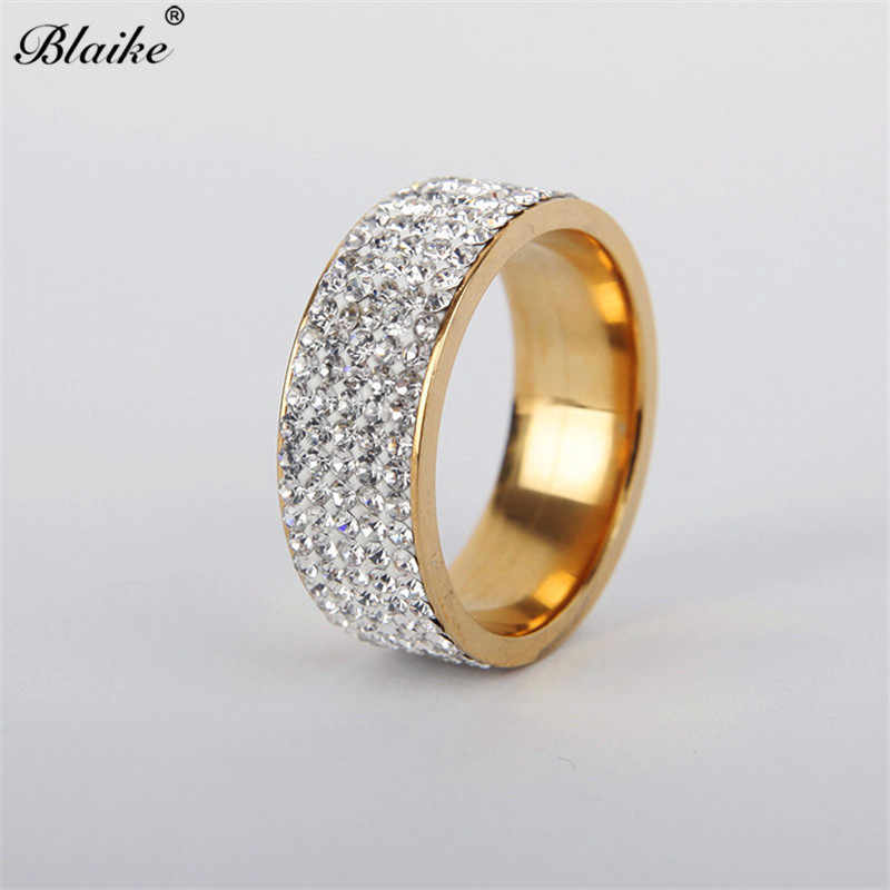 Blaike Vintage Fashion Gold/Silver Stainless Steel Full Rhinestone Rings for Women Men Finger Jewelry Crystal Ring Wedding Gifts