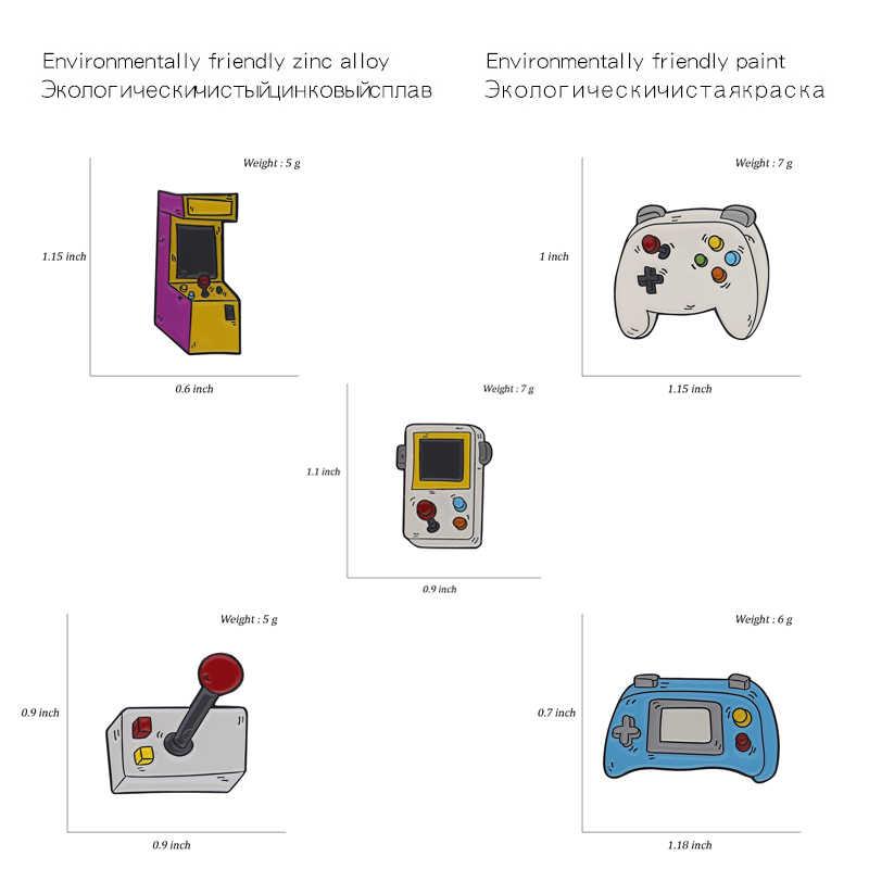 סיכות משחק Gamepad ג 'ויסטיק משחק מכונת סיכות תגי רטרו אופנה אמייל תרמיל סיכות לחברים מתנות תכשיטים סיטונאי