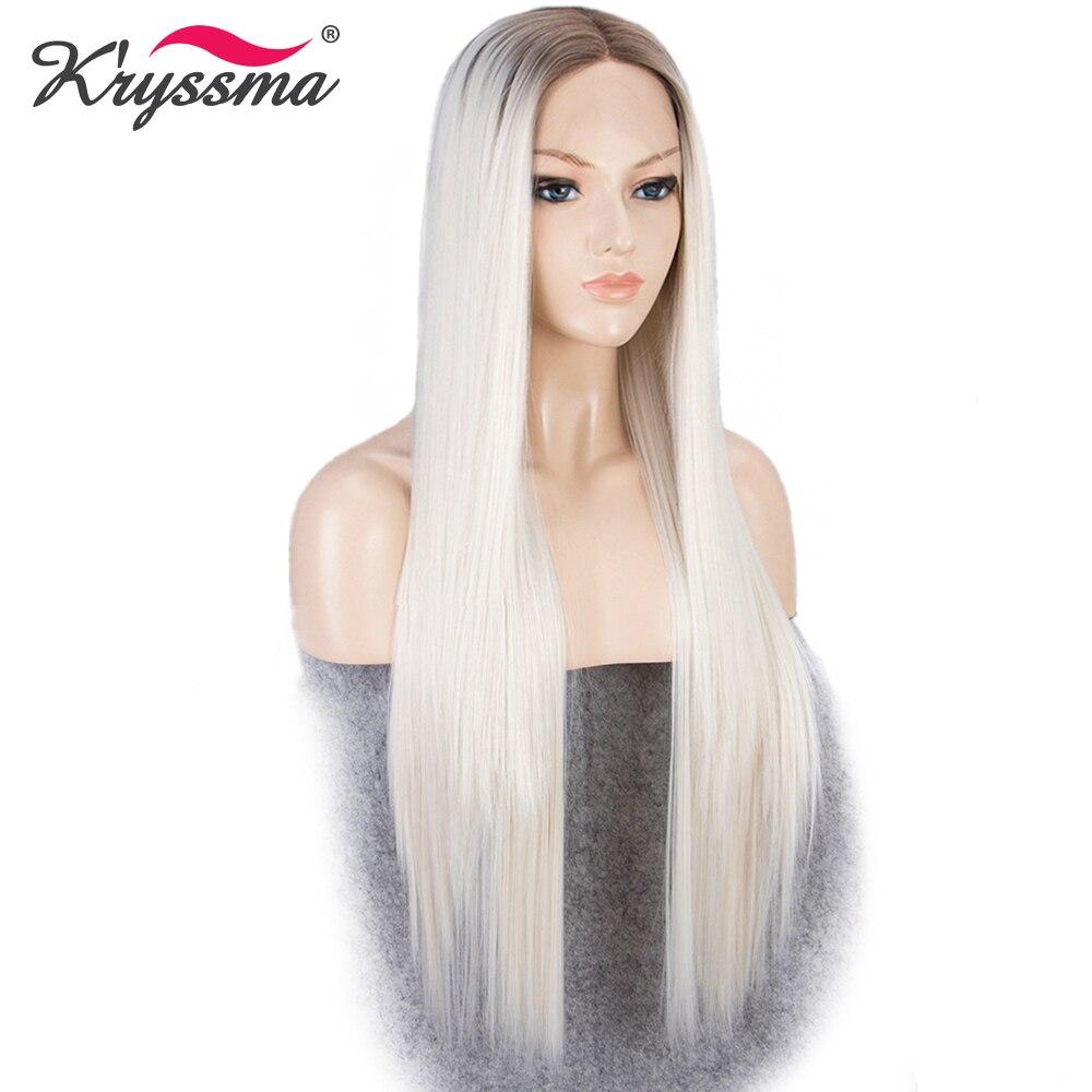Platine Perruque Synthétique Avant de Lacet Perruque Cheveux Blonds Brun Racines Ombre Perruques pour Femmes Blanc Longue Soyeuse Droite Chaleur OK fiber