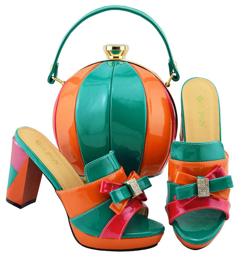 3.5 inches size 38-43 african aso ebi party fashion shoes and clutches bag teal and orange shoes and bag set matching  SB8142-93.5 inches size 38-43 african aso ebi party fashion shoes and clutches bag teal and orange shoes and bag set matching  SB8142-9