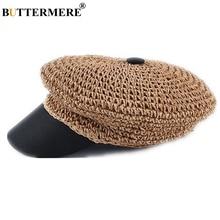 BUTTERMERE Straw Newsboy Cap For Women Spring Summer Ladies Baker Boy Hat Vintage Octagonal Brand Casual Female Beret