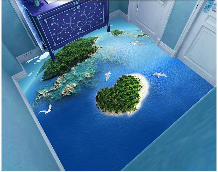 3d pvc flooring custom photo mural picture Seagulls love island decoration painting sky ceiling room wallpaper for walls 3d