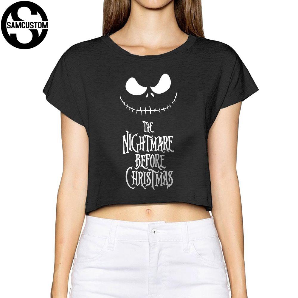 SAMCUSTOM Camisetas Real Short The nightmare before christmas 3D Fashion Street T Shirt Anarchy Bare midriff Sexy T-shirt Women