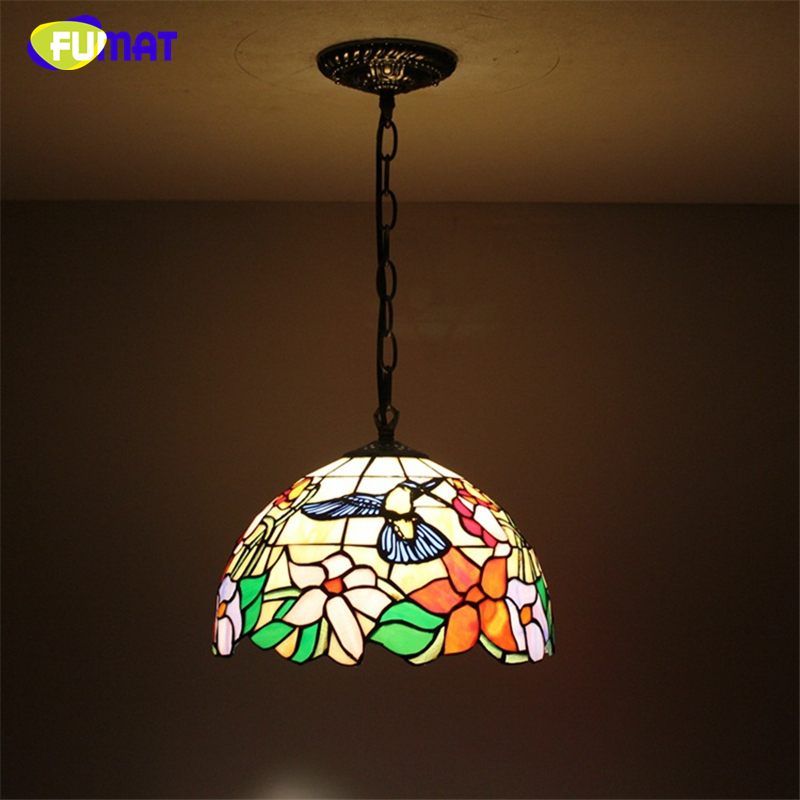 FUMAT European Style Tiffany Stained Glass Vintage lamps For Living Room Coffee Bar Pendant Lights Brids Glass LED Pendant Lamps fumat stained glass pendant lamps european style baroque lights for living room bedroom creative art shade led pendant lamp