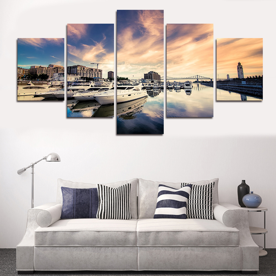 Painting By Numbers Sale No 2016 New 5 Piece Sea And Ship Big Size Wall Art Home Decor Modern Picture Set On Canvas Painting