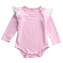 2016 Autumn Newborn Baby Girls Infant Princess Long sleeve Romper Jumpsuit Outfits Clothes0-24M