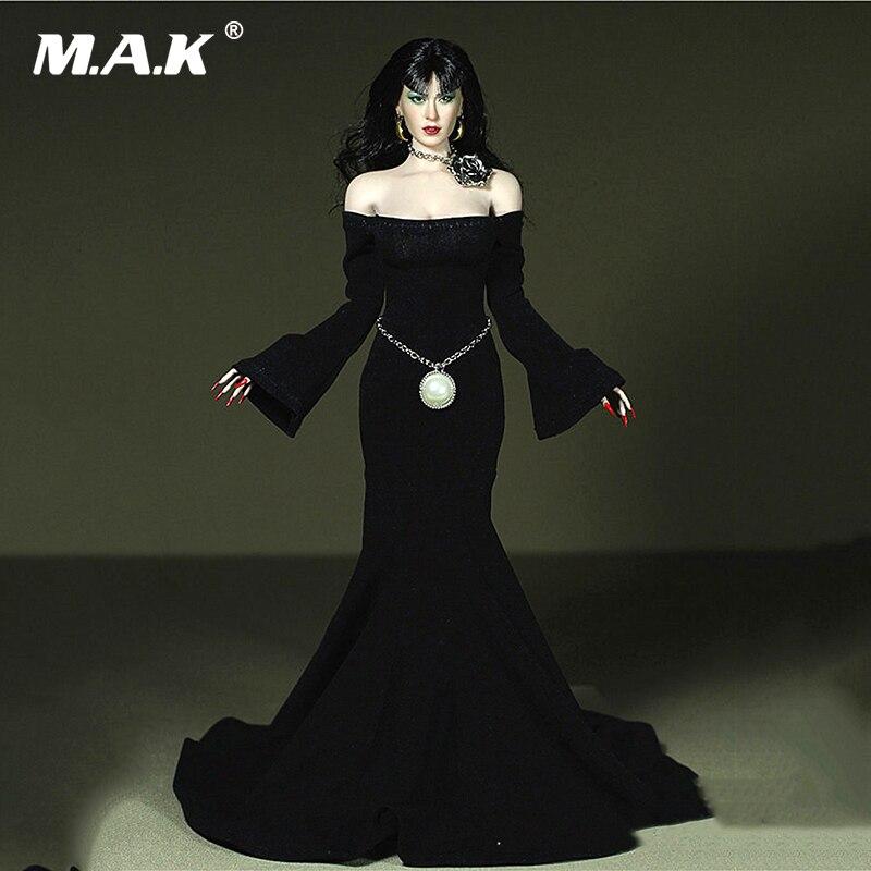 1/6 Sexy femme noir longue robe de soirée ceinture vêtements modèle collier pour 12
