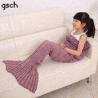 Kids Girls Pajama Bedding Sofa Mermaid Blanket Wool Knitting Fish Tail Blankets Warm Sleeping Bag Children Princess Loves Gift