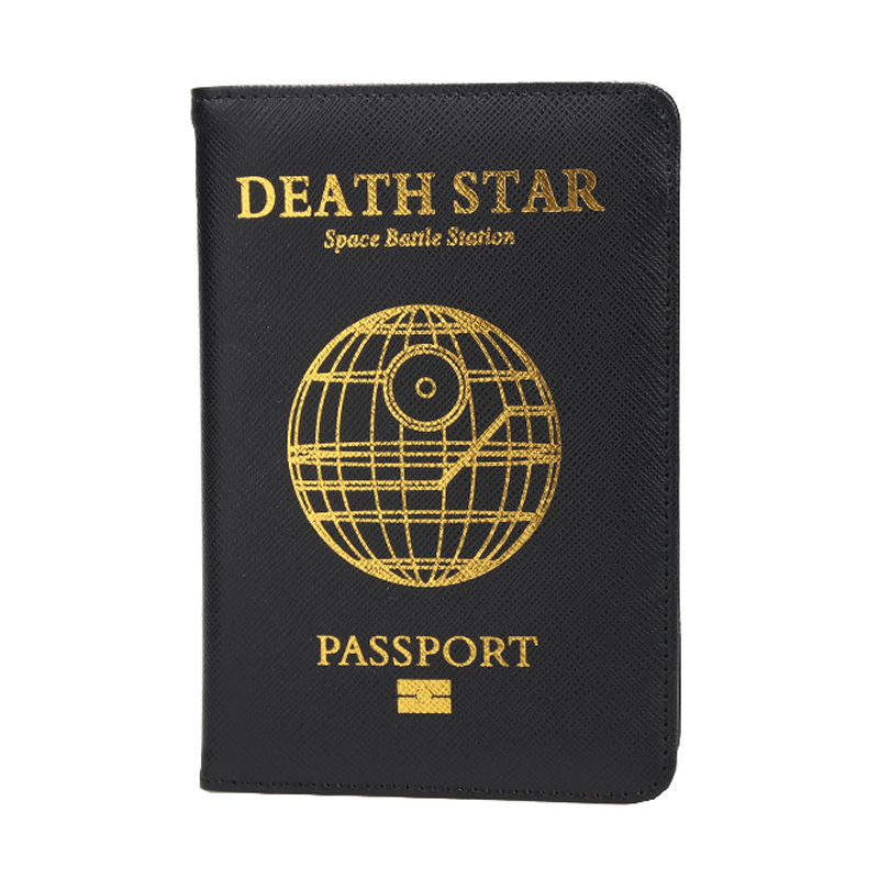 DIKEDAKU Passport-Holder Death-Star Rfid Travel Star-Wars Credit-Cards Pu Cross-Pattern