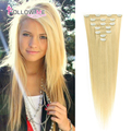 Blonde Clip In Human Hair Extensions Peruvian Remy Human Hair Clip In Extensions Follow Me #613 Straight Clip In Hair Extensions