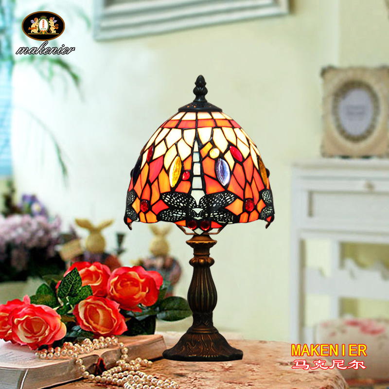 Makenier Vintage Tiffany Style Stained Glass Bedroom Bedside Corner Table Desk Red Dragonfly Small Lamp, 7 Inches Lampshade 16inch antique agate jade dragonfly stained glass lampshade tiffany pendant lamp country style bedside lamp e27 110 240v