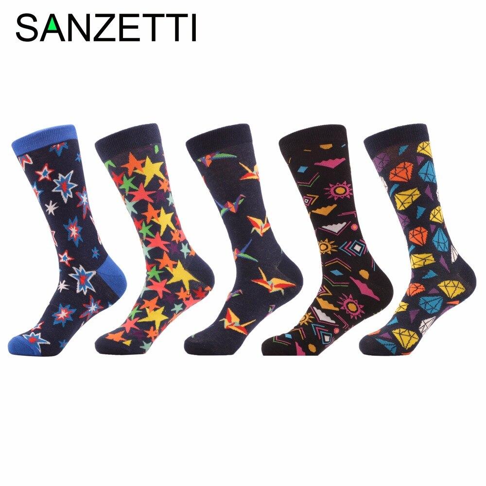 SANZETTI 5 pairs/lot Fashion Mens Colorful Funny Combed Cotton Casual Dress Wedding Socks Novelty Brand Crew Skateboard Socks