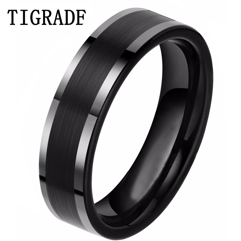 6mm Black Tungsten Carbide Ring Carbon Fiber Engagement Wedding Band Women Men Jewelry Deliver to USA