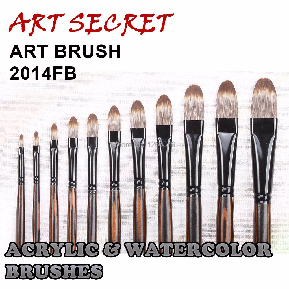 2014FB High Quality Korea Taklon Hair Wooden Handle Acrylic And Oil Paint Brushes Artistic Art Painting Brush For Drawing