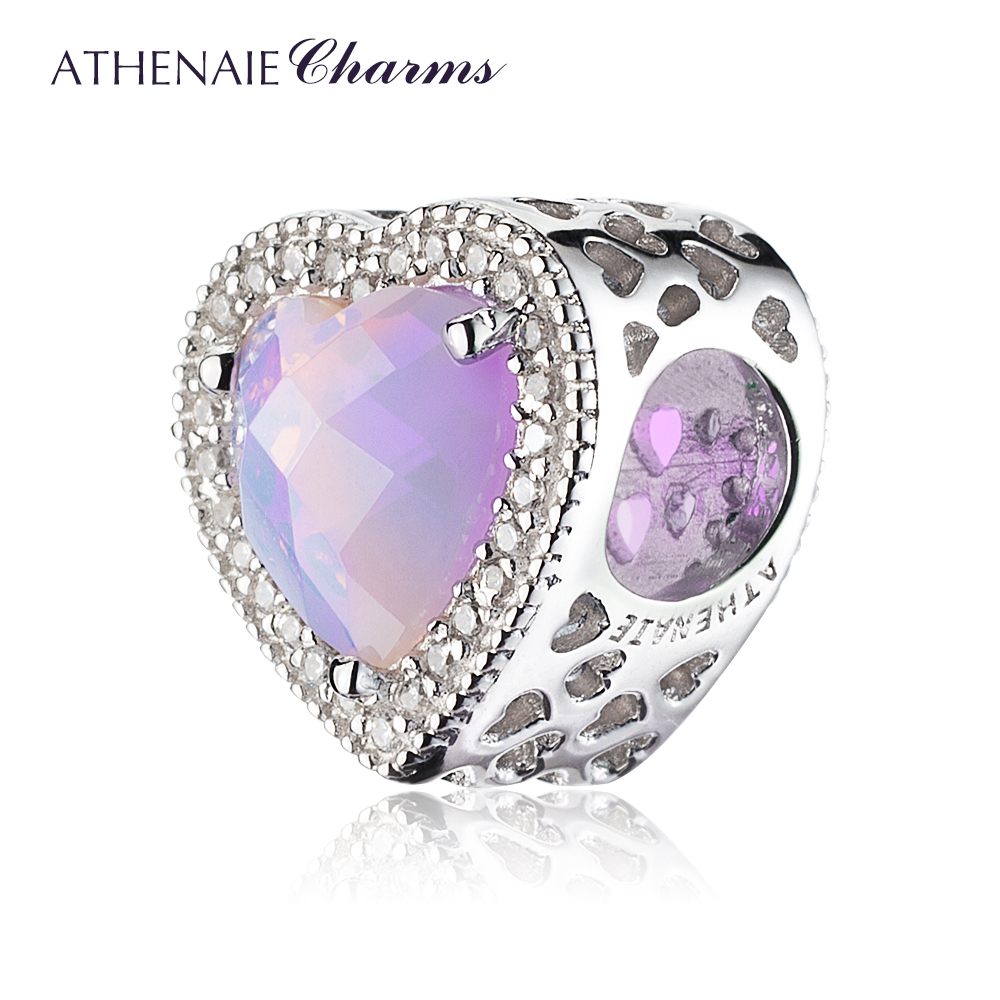 Image 2 - ATHENAIE 925 Sterling Silver Radiant Hearts Charms Beads Pave Opalescent Pink Crystal & Clear CZ Fit Bracelets Women Christmas-in Beads from Jewelry & Accessories