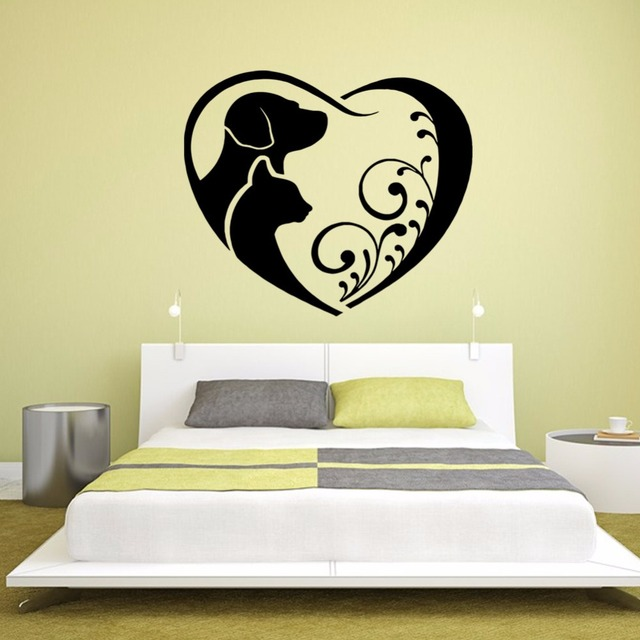 Abstract art loving puppy cat vinyl wall decal home decor living ...
