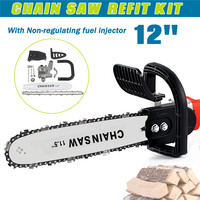 New 12 Inch 42cm Chainsaw Bracket For 100 Change Angle Grinder Into Chain Saw Woodworking Non Regulating Chainsaw Refit Kit Set