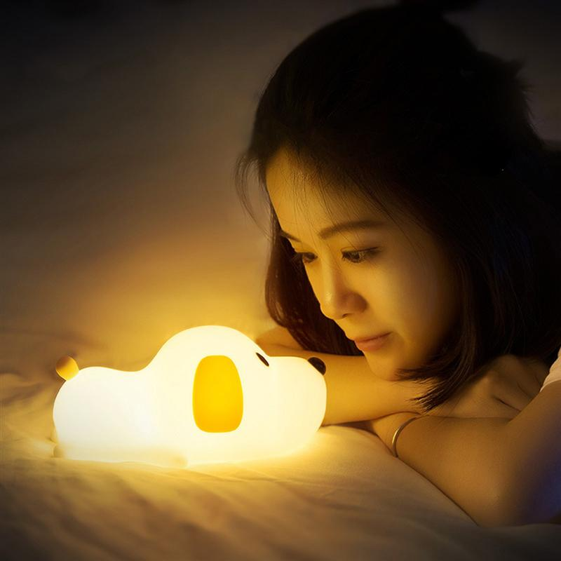 Cute Dog Lamp Creative Puppy Silicone LED Night Light Bedroom Bedside Night Lamp Rechargeable For Baby Children Gift cute bear silicone led night light lamp children bedroom night lamp color changing led bedside light for children kid baby toy