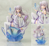 Anime Re Zero Kara Hajimeru Isekai Seikatsu Emilia Pre painted PVC Action Figures Collectible Model Toys Doll 17cm