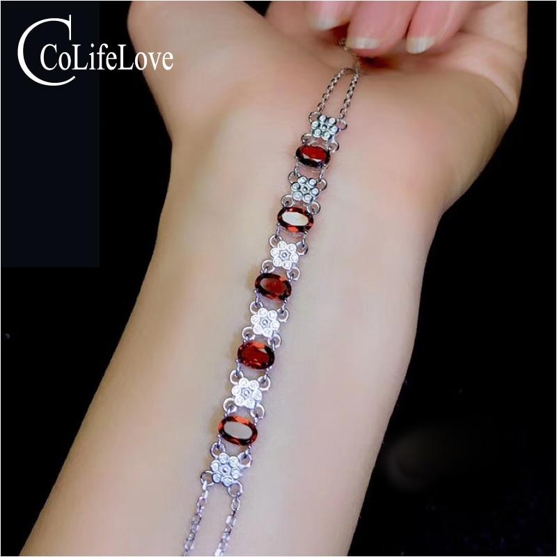 CoLife Jewelry 925 Silver Garnet Bracelet for Young Girl 5 PCS Natural Garnet Gemstone Bracelet Sterling